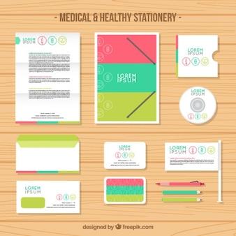Colorido papelaria médica