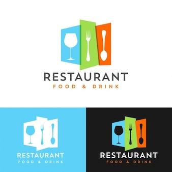 Colorido restaurante modelo de design de logotipo
