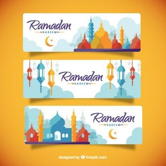 Colorido silhuetas banners Ramadan