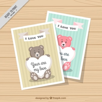 Colorido ursos do amor cartões