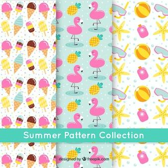 Coloridos padrões de verão com elementos decorativos