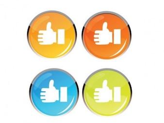 Coloridos polegares rodada brilhante para cima