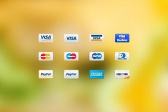 Comércio eletrônico de pagamento cartões de ícones