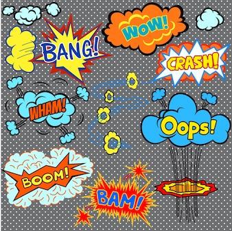 Comics brilhantes elementos de design ilustração dos desenhos animados do vetor