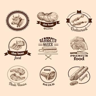 Comida de carne, melhor qualidade, premium, bife, etiquetas decorativas, esboço, conjunto, isolado, ilustração vetorial