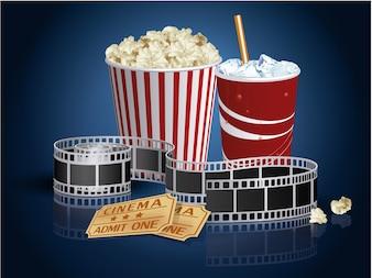 Comida de cinema e fundo de ingressos