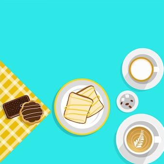 Comida e bebida, conceito de freio com café e sandwitch.