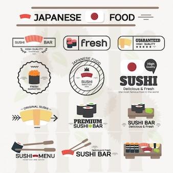 Comida japonesa etiqueta a coleção