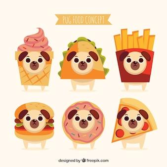 Comida rápida e pugs fofos