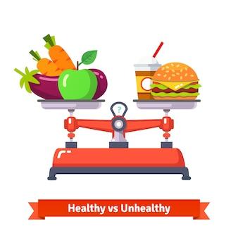 Comida saudável versus comida insalubre