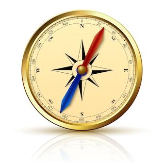Compasso de navegação emblema dourado