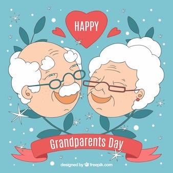 Composição com avós rostos e folhas