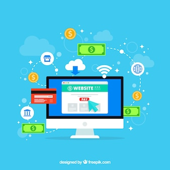 Composição de pagamento on-line com design plano