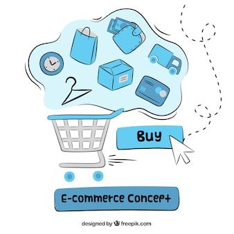 Composição desenhada mão do e-commerce