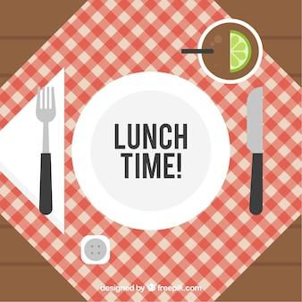 Composição plana com elementos de almoço