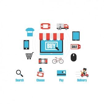 Compras Coleção dos ícones on-line
