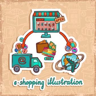 Compras na Internet e-commerce em linha compra sistema de entrega sketch design conceito ilustração vetorial