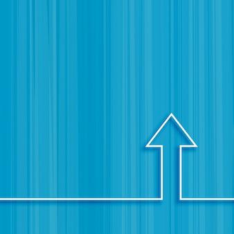 Conceito crescente de seta de linha no fundo azul