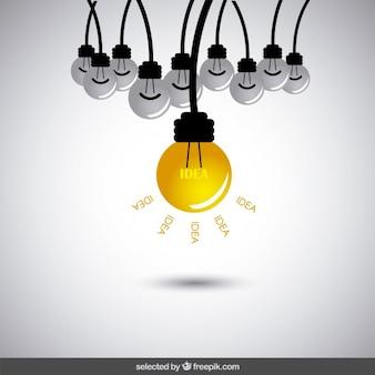 Conceito da idéia com lâmpadas