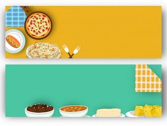 Conceito de Alimentos e Bebidas com banners de sites.