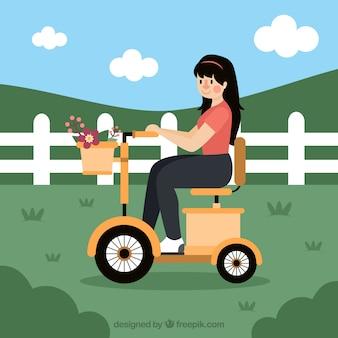 Conceito de bicicleta elétrica com garota fofa