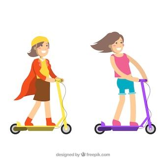 Conceito de bicicleta elétrica com meninas felizes