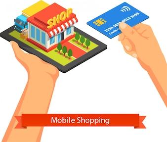 Conceito de comércio de internet de supermercado móvel