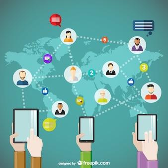 Conceito de comunicação em todo o mundo