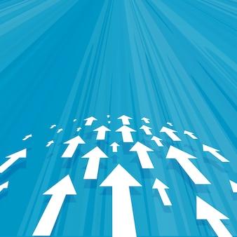 Conceito de conceito de negócios de setas avançando em fundo azul
