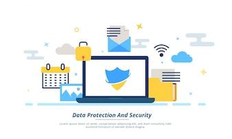 Conceito de dados, proteção ou segurança da Internet. Fintech (tecnologia financeira) de fundo. Stlye plana colorida.