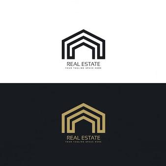 Conceito de design de logotipo imobiliário linha mínima