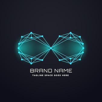 Conceito de design do logo do infinito digital do techno