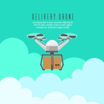 Conceito de drone de entrega com design plano