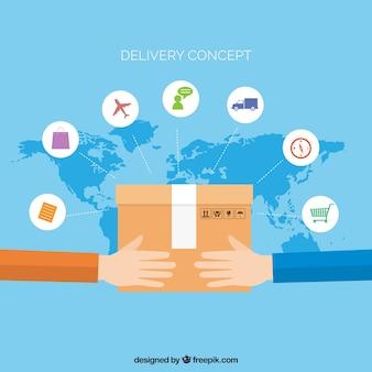 Conceito de entrega internacional com design plano