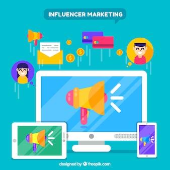Conceito de marketing criativo influenciador