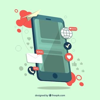 Conceito de marketing de influência com smartphone