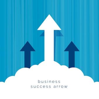 Conceito de negócio de liderança com flecha voando através de nuvens