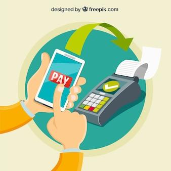 Conceito de pagamento sem contato plano