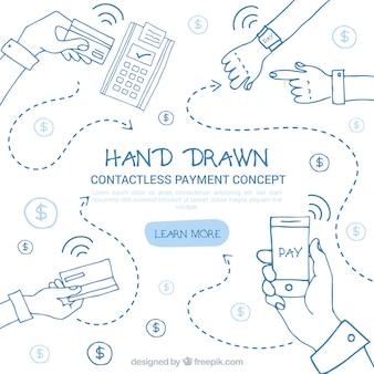 Conceito de pagamento sem manuseio desenhado manualmente