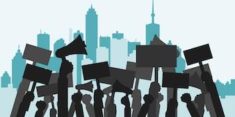 Conceito de protesto, revolução, conflito