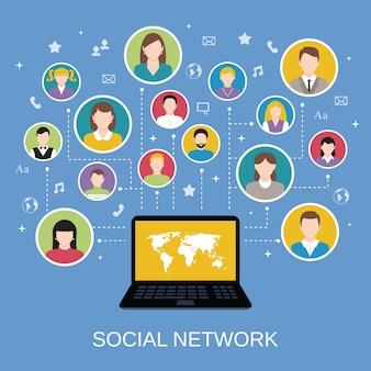 Conceito de rede de mídia social com avatares masculinos e femininos conectados via ilustração vetorial do laptop