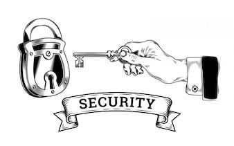 Conceito de segurança - mão com tecla abre, fecha o bloqueio
