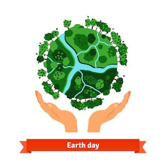 Conceito do Dia da Terra. Mãos humanas segurando o globo