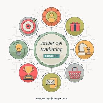 Conceito infográfico de marketing Influencer