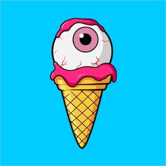 Cone de sorvete com bola de olho rosa e creme de suco de morango