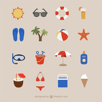 Ícones da praia para o verão