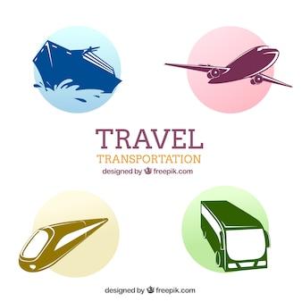 Ícones do transporte pacote de viagem