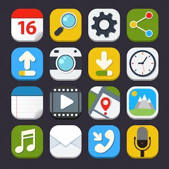 Configurações de pesquisa de aplicativos de telefones móveis ícones de email conjunto ilustração vetorial isolada