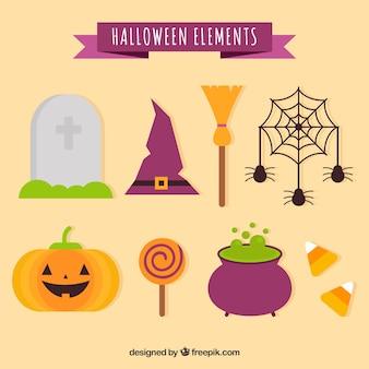Conjunto básico de elementos do Dia das Bruxas