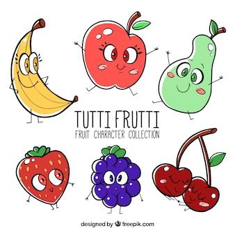 Conjunto, bonito, fruta, personagens